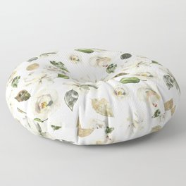 Watercolor white pink green gold romantic roses Floor Pillow