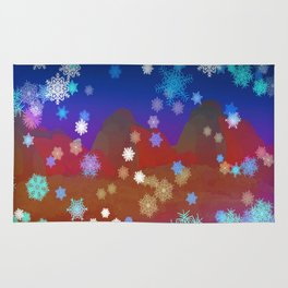 Mountains and Snowflakes Rug