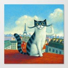 A cat in Paris Canvas Print