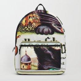 Vintage Zeller Schwarze Katz Black Cat Wine Bottle Label Print Backpack