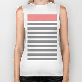 Striped Pattern - Stripes - Pink / Grey Stripes Biker Tank