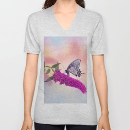 Black Swallowtail Butterfly Feeds on purple flowers Unisex V-Neck
