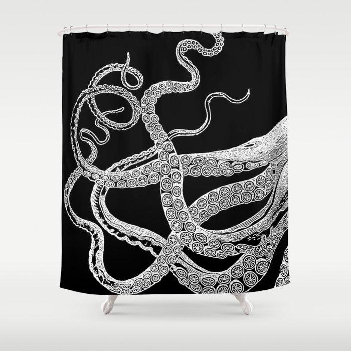 Kraken White and Black Shower Curtain by neverlanddream