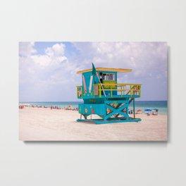 Blue Lifeguard Station Metal Print