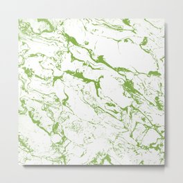 Modern white green marble greenery color of the year pattern Metal Print