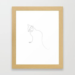 Oneline Cat Framed Art Print
