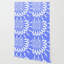 The Modern Flower Baby Blue & White Wallpaper