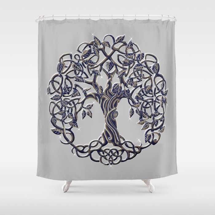 Tree Of Life Silver Shower Curtain By Astrablink7