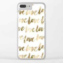 Gold Love Quote Pattern Typography Script 2 Clear iPhone Case