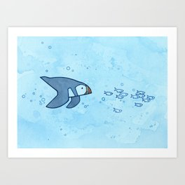 Swimming puffin and fish Art Print