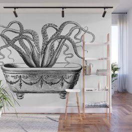 Tentacles in the Tub | Octopus | Black and White Wall Mural