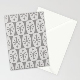 Mid Century Modern Atomic Fusion Pattern 335 Gray on Gray Stationery Cards