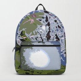 Allium abstract flower garden, blue white floral Backpack