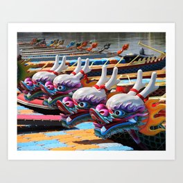 Traditional Dragon Boats in Taiwan Art Print
