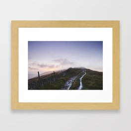 Mountain path and fence at sunset. Derbyshire, UK. Framed Art Print