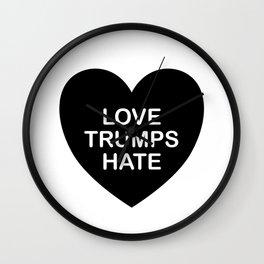 LOVE TRUMPS HATE HEART in BLACK Wall Clock