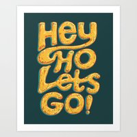 ramones Art Prints featuring Hey Ho Let's Go by Word Quirk