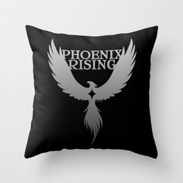 PHOENIX RISING grey on black with star center Throw Pillow