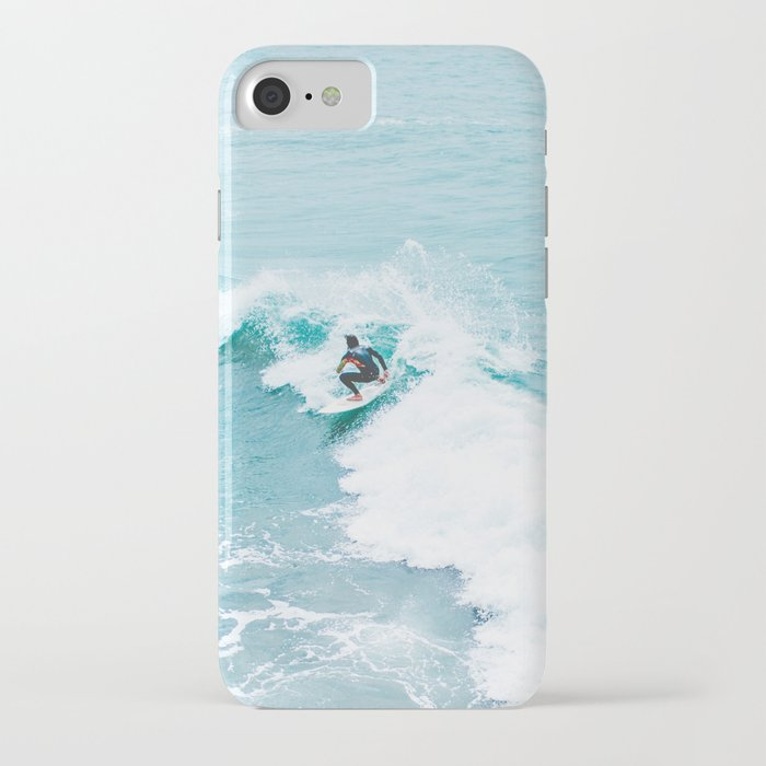 wave surfer turquoise iphone case
