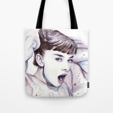 Audrey Hepburn Watercolor Actress Breakfast at Tiffanys Tote Bag