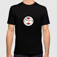 Food Clock SMALL Mens Fitted Tee Black