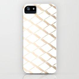 Luxe Gold Diamond Lattice Pattern on White iPhone Case
