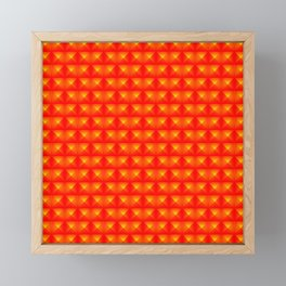 Chaotic pattern of red squares and orange pyramids. Framed Mini Art Print