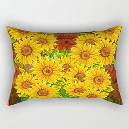 Sunflower Watercolor Pattern (Color) Rectangular Pillow
