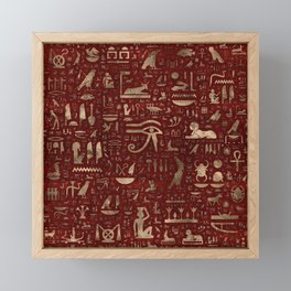 Ancient Egyptian hieroglyphs - Red Leather and gold Framed Mini Art Print