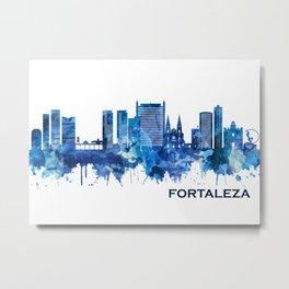 Fortaleza Brazil Skyline Blue Metal Print