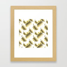 Modern gold color tropical cheese leaves pattern Framed Art Print