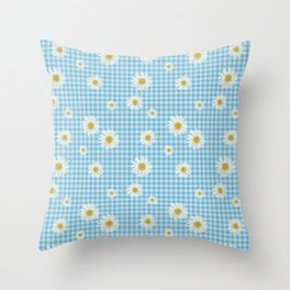 Daisies On Blue Gingham Throw Pillow