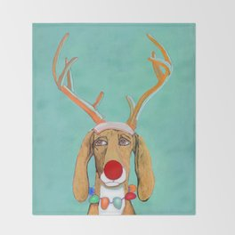 George the Holiday Hound Throw Blanket
