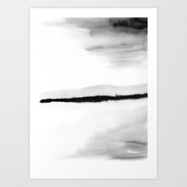 Black and White Watercolor Landscape Art Print