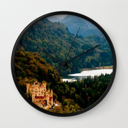 Castle under mountains Wall Clock
