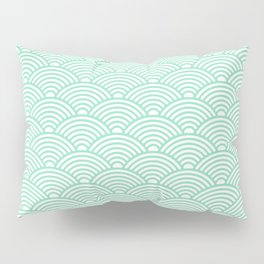 Japanese Waves (Mint & White Pattern) Pillow Sham