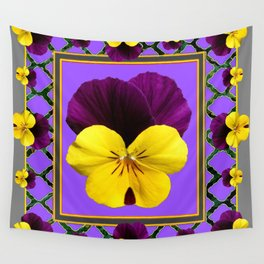 PURPLE & YELLOW SPRING PANSIES GARDEN Wall Tapestry