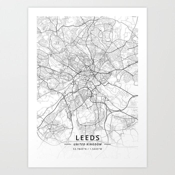 Leeds, United Kingdom - Light Map Kunstdrucke