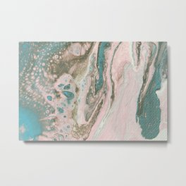 Fluid Art Acrylic Painting, Pour 20, Light Pink, Blue Gray & White Blended Color Metal Print