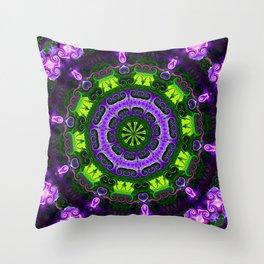 Purple Iris Mandala Throw Pillow