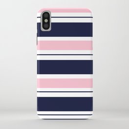 Blue Navy and Pink Stripes iPhone Case