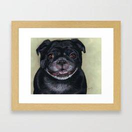 Black Pug Painting Portrait Framed Art Print