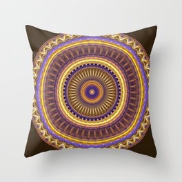 Groovy mandala with waves and tribal patterns in brown, yellow, blue and purple Throw Pillow