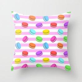 Happy macaron pattern Throw Pillow