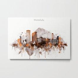 Brown Honolulu skyline design, Hawaii cityscape Metal Print