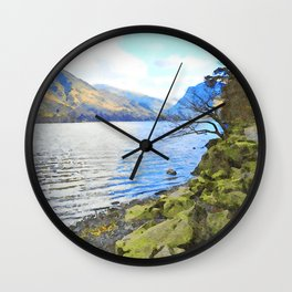 Little Tree at Buttermere, Lake District, England Watercolour Painting Wall Clock