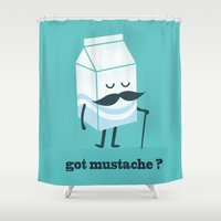 mustache Shower Curtains featuring Got mustache? by Picomodi