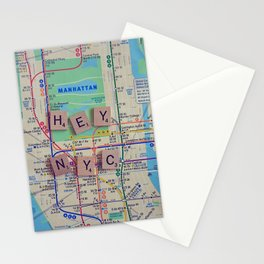 New York City, NYC Map, Subway, Travel Stationery Cards