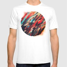 64 Watercolored Lines MEDIUM White Mens Fitted Tee