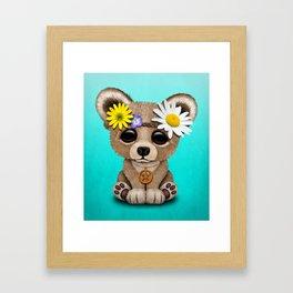 Cute Baby Bear Hippie Framed Art Print